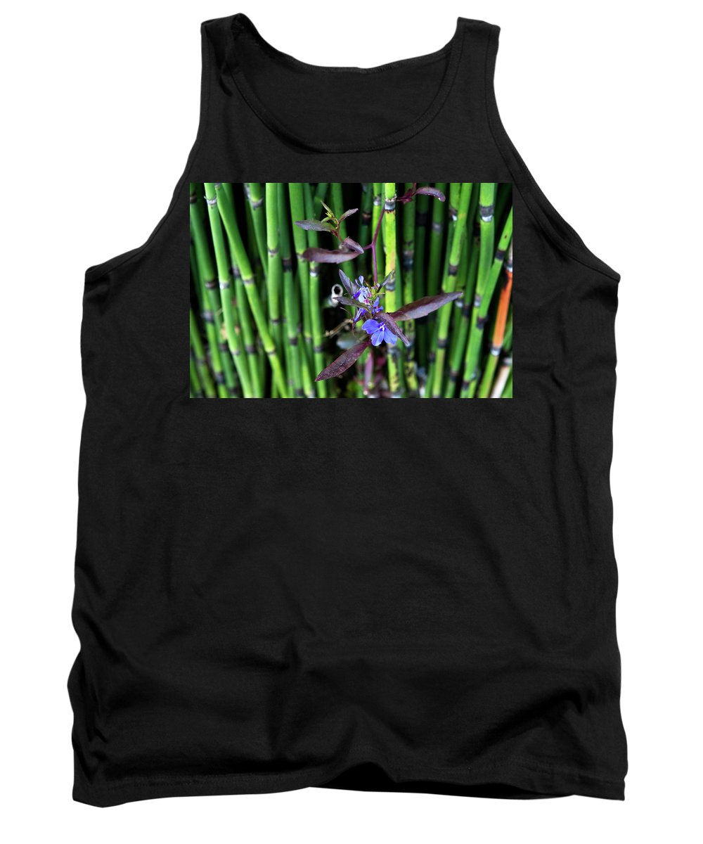 Flora Tank Top featuring the photograph Blue Bursts From Bamboo by Lorraine Devon Wilke