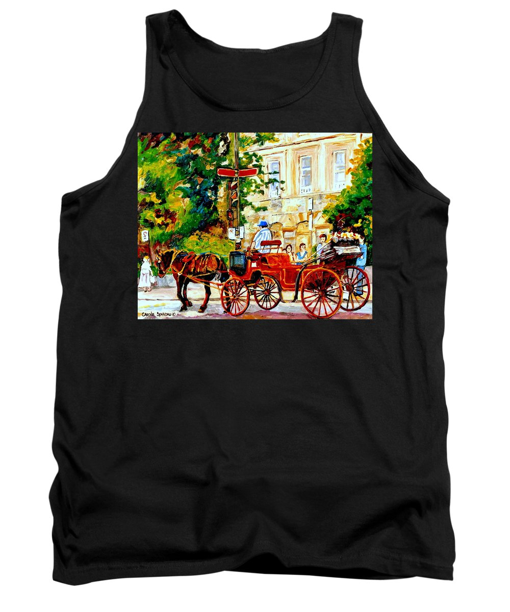 Quebec City Street Scenes Tank Top featuring the painting Quebec City Street Scene The Red Caleche by Carole Spandau