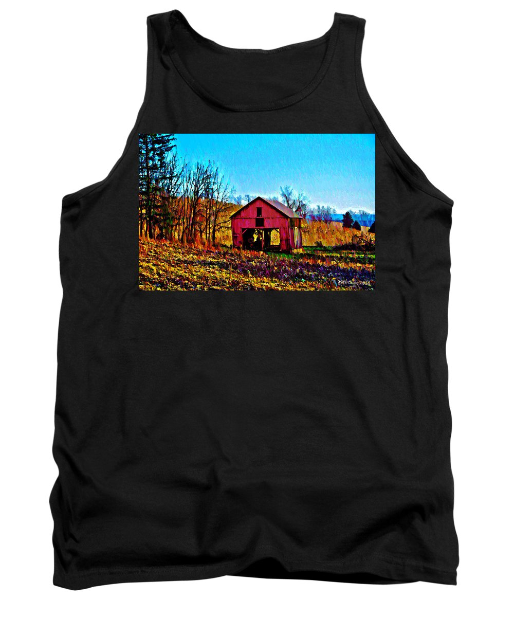 Red Tank Top featuring the photograph Red Barn On A Hillside by Bill Cannon