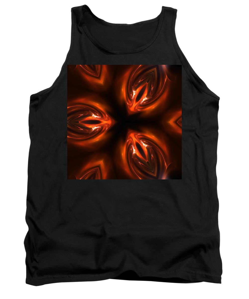 Kaviar Caviar Red Fractal Digital Art Composition Structure Painting Color Colorful Expressionism Impressionism Abstract Glow Glowing Light Lights Reflection Tank Top featuring the digital art Red Caviar by Steve K