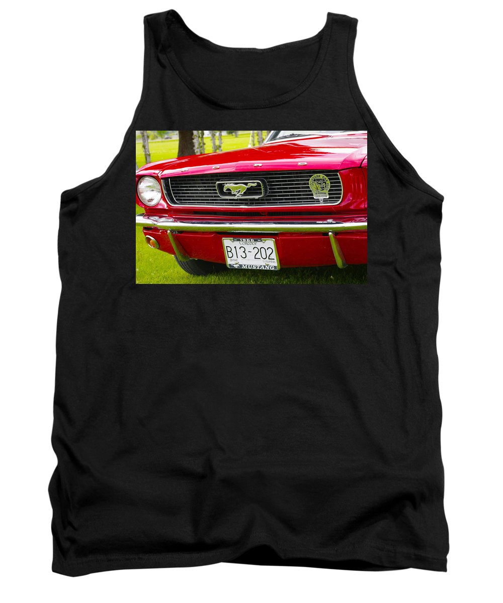 1966 Tank Top featuring the photograph Red Pony Car by John Greaves