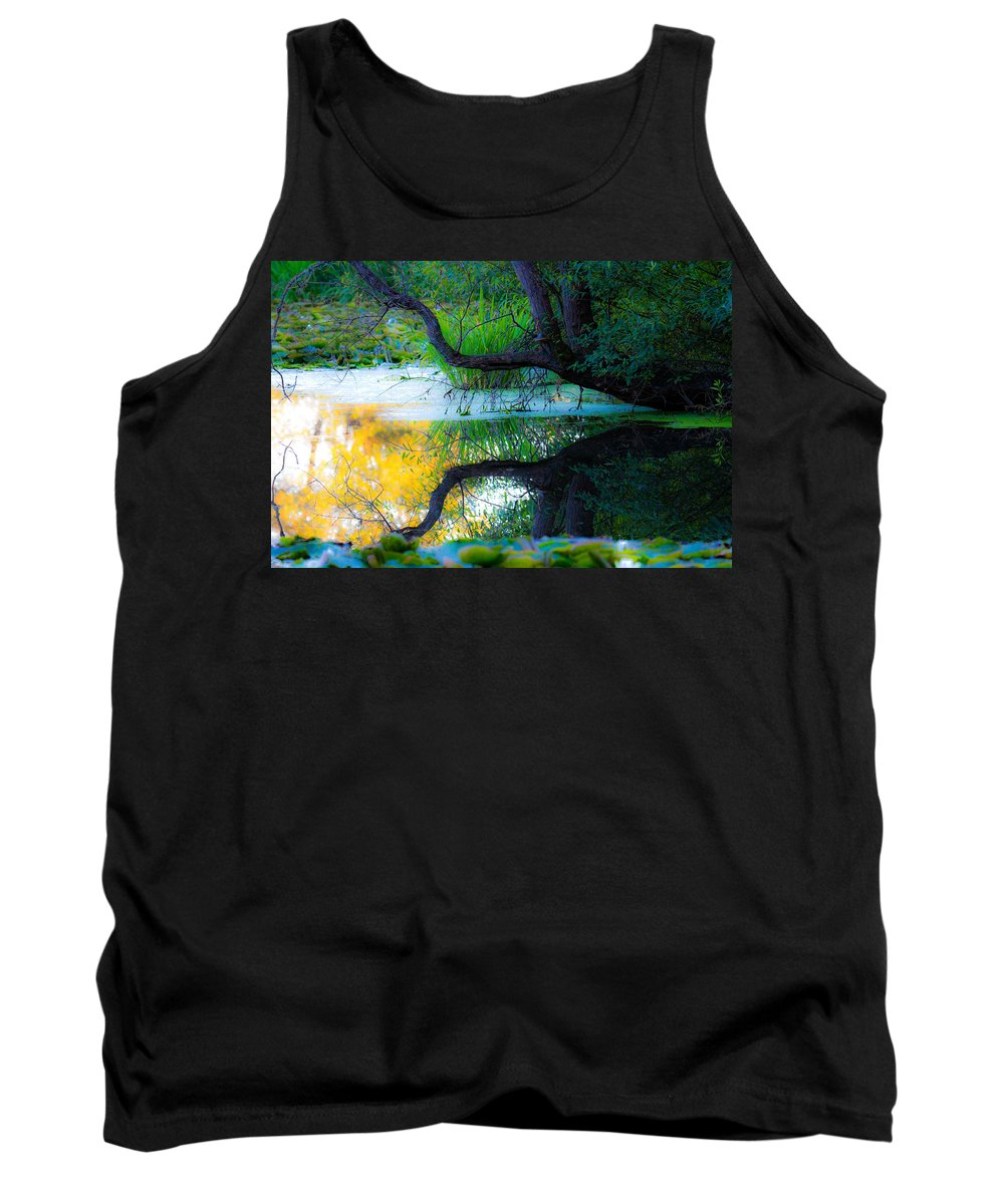 Reflections Tank Top featuring the photograph Reflected Tree In Pastel Landscape by Marie Jamieson