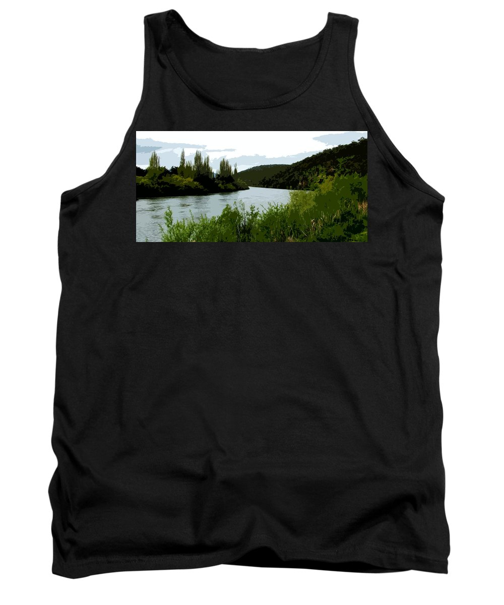 River Tank Top featuring the digital art River Landscape Scene by Phill Petrovic