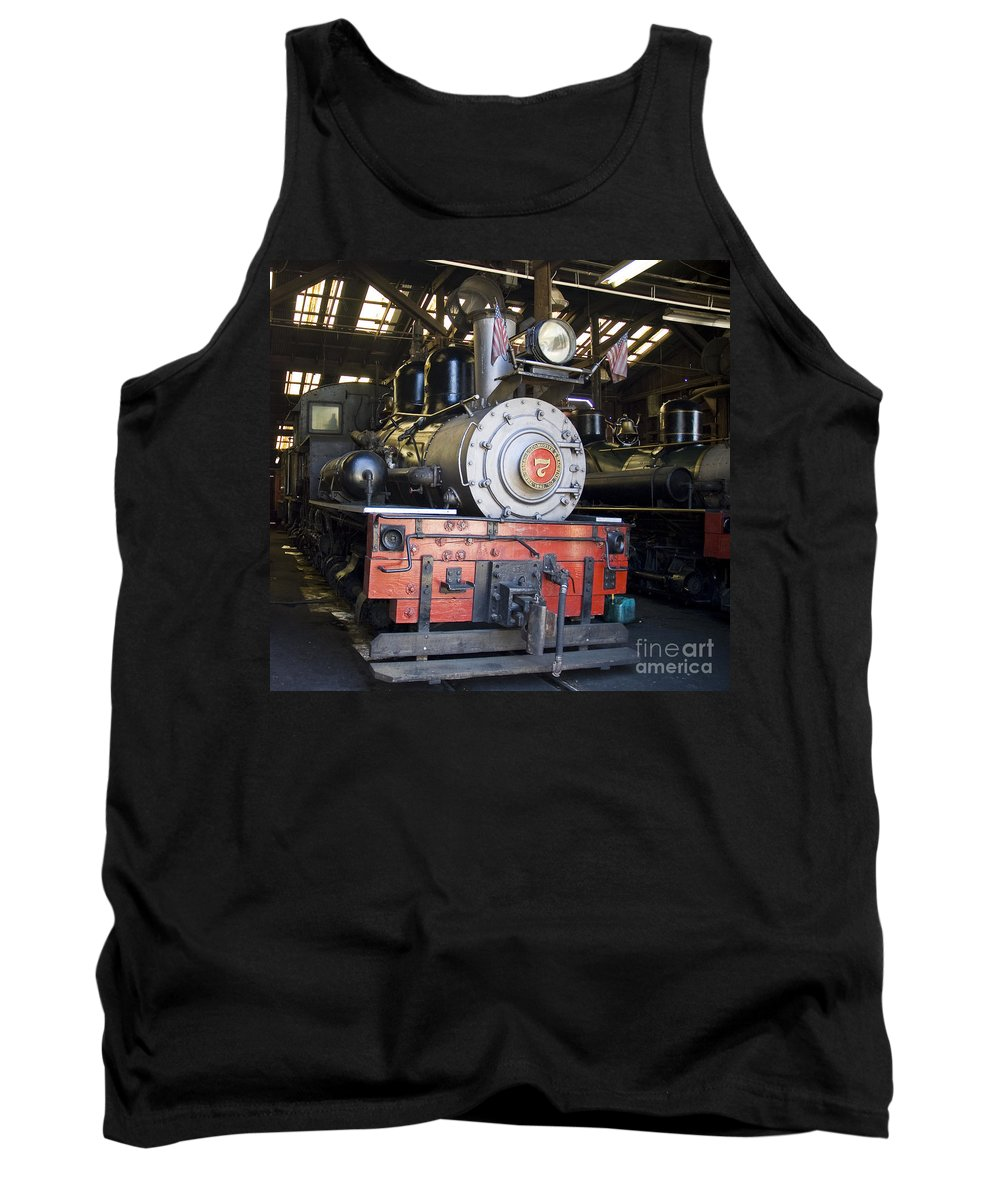 Roaring Camp And Big Trees Tank Top featuring the photograph Roaring Camp West Side Shay by Tim Mulina