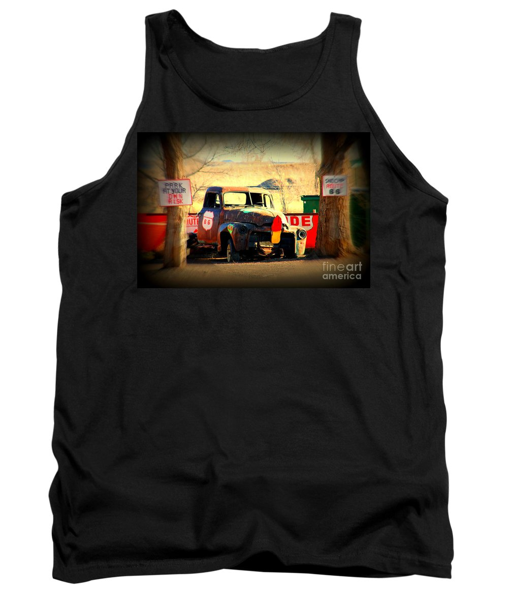 Route 66 Tank Top featuring the photograph Route 66 Parking Lot by Susanne Van Hulst
