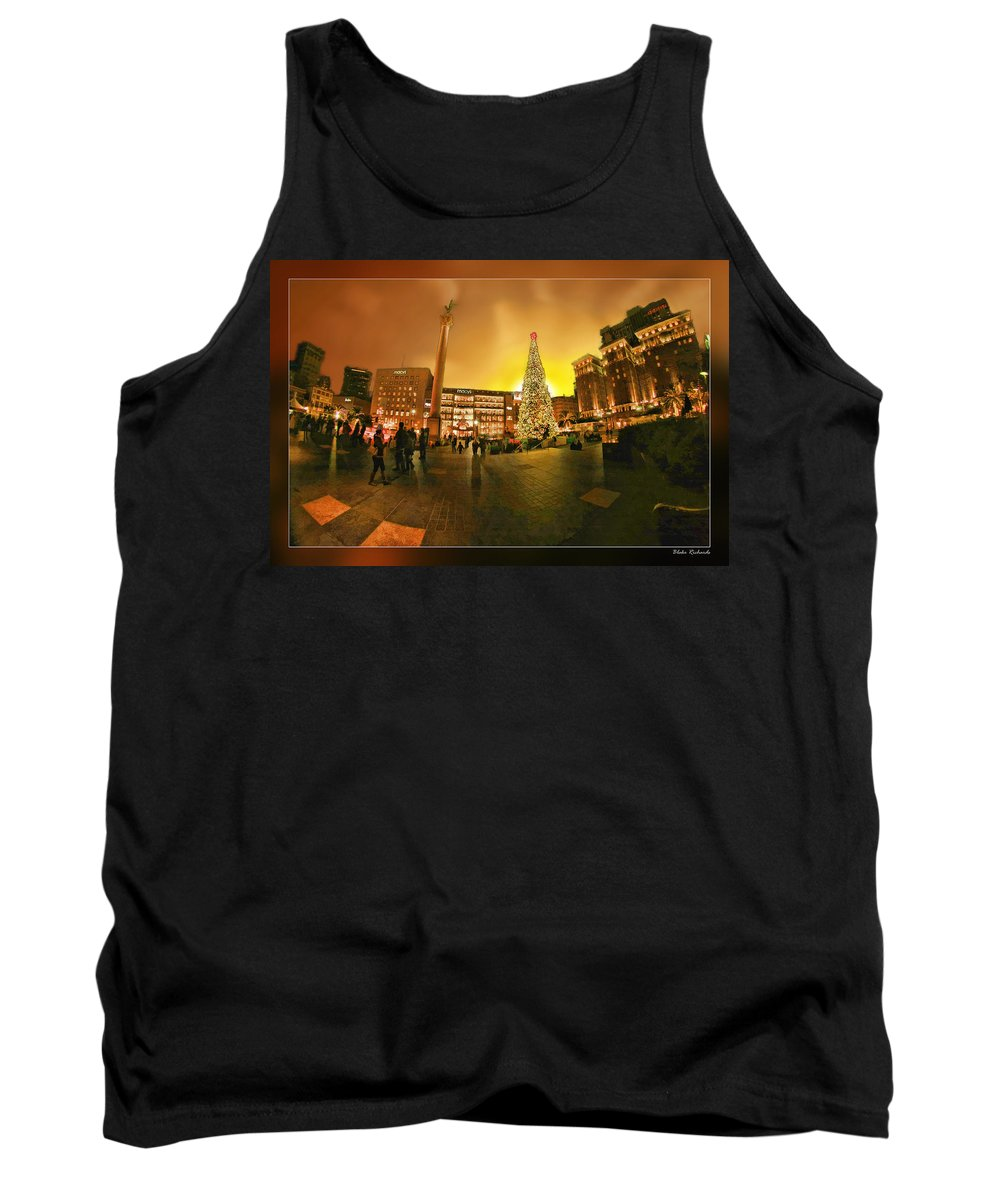 Art Photography Tank Top featuring the photograph San Francisco Union Square Xmas by Blake Richards