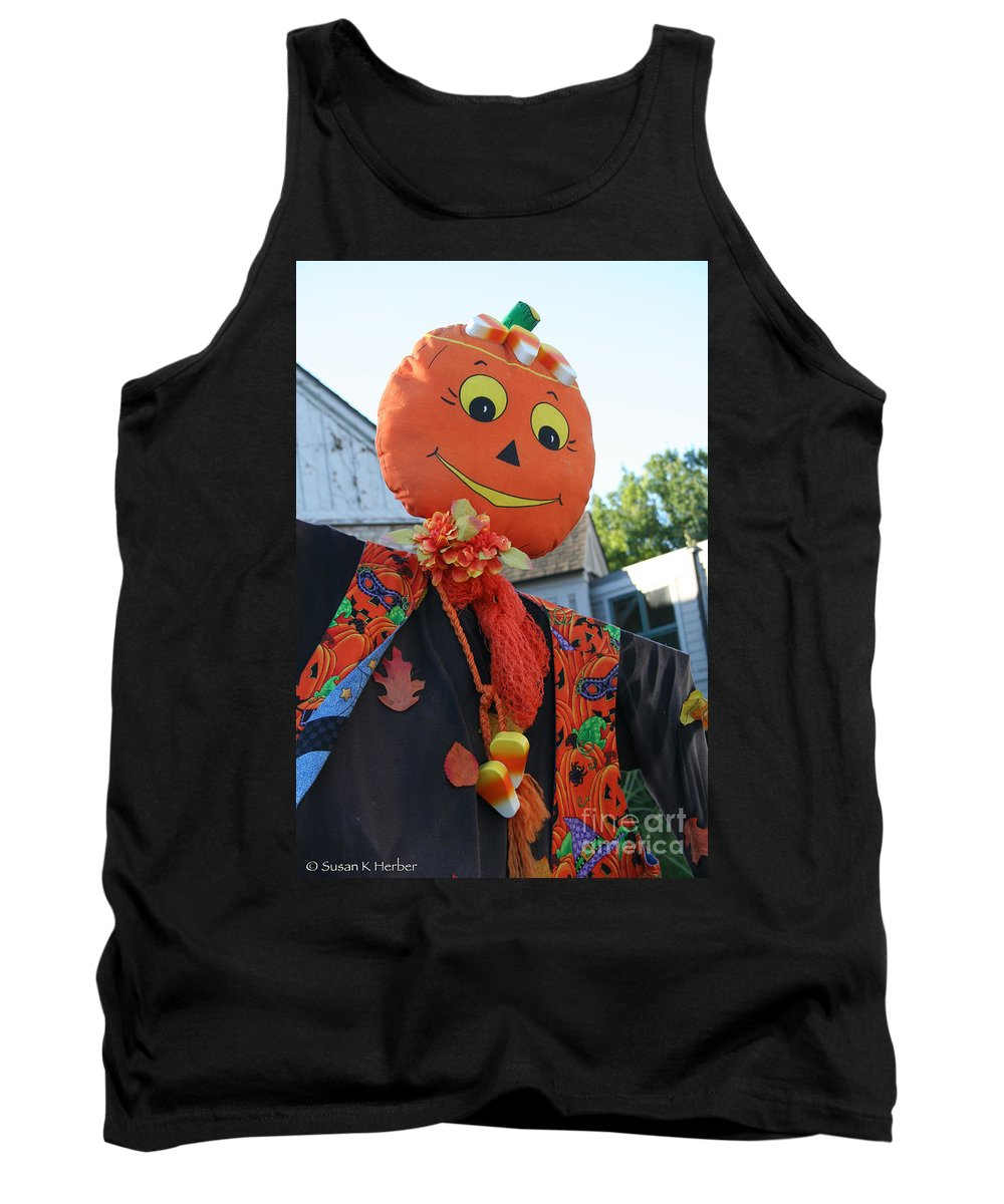 Fall Tank Top featuring the photograph Scarecrow Candy by Susan Herber
