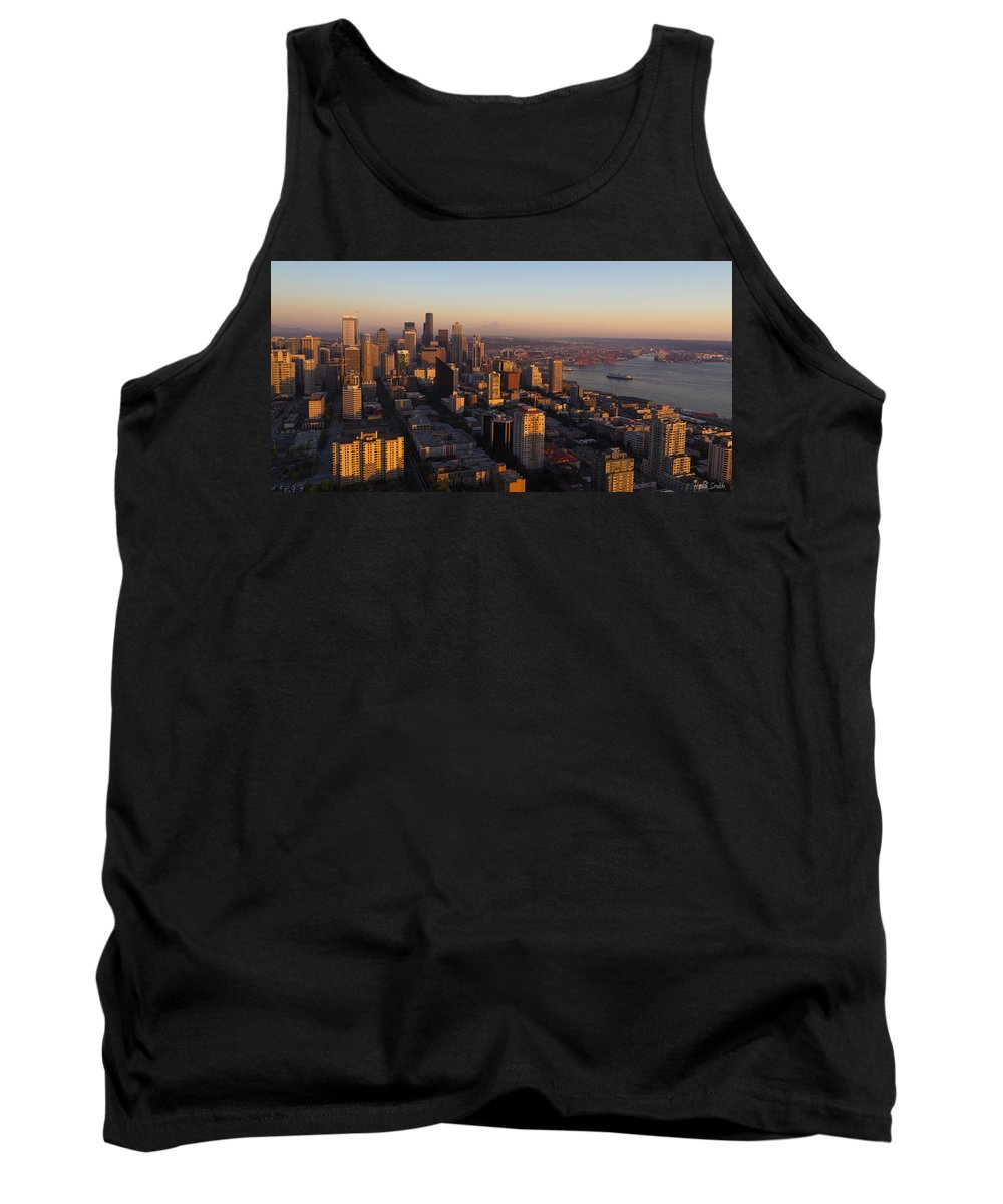 Bay Tank Top featuring the photograph Seattle Blue Hour by Heidi Smith