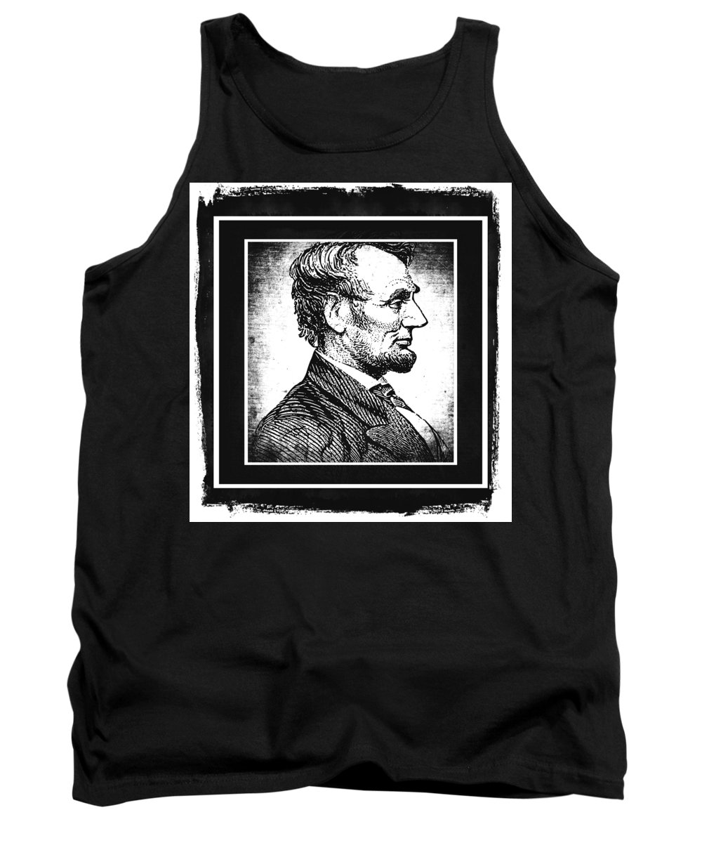 Usa Tank Top featuring the mixed media Sixteenth President Bw by Angelina Vick