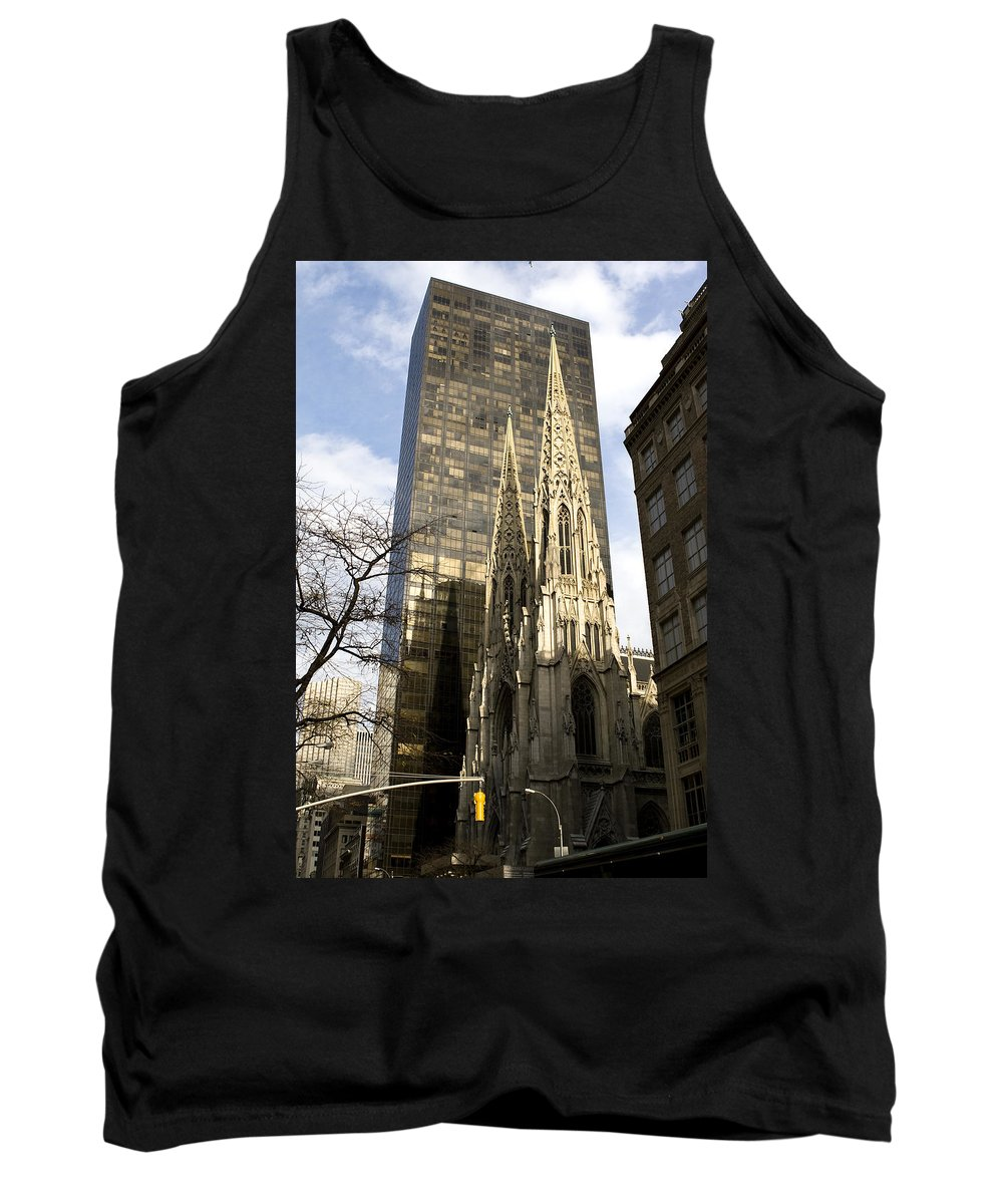 New York Tank Top featuring the photograph Skyscraper And Spire by Lorraine Devon Wilke