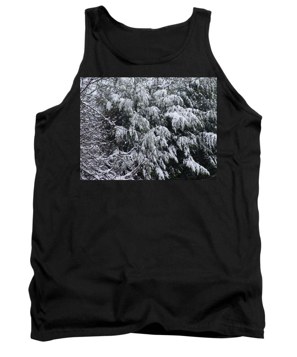 Snow Tank Top featuring the photograph Snowy Branches Winter by Ashok Patel
