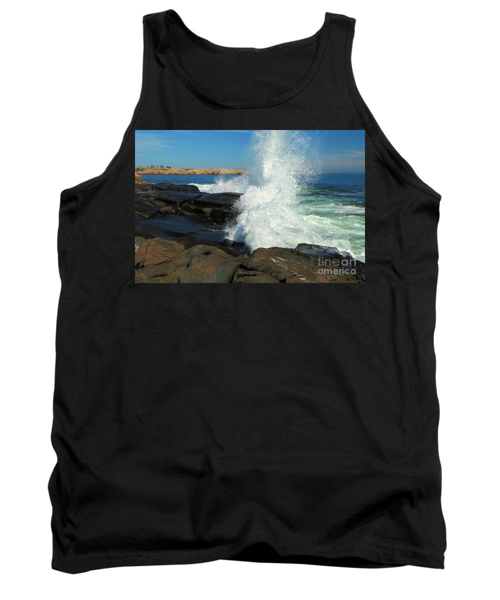 Acadia National Park Tank Top featuring the photograph Splash by Adam Jewell