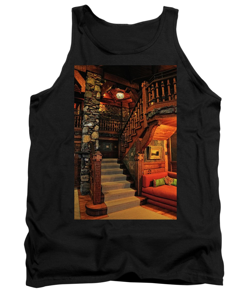Gillette Castle Tank Top featuring the photograph Stairway In Gillette Castle Connecticut by Dave Mills