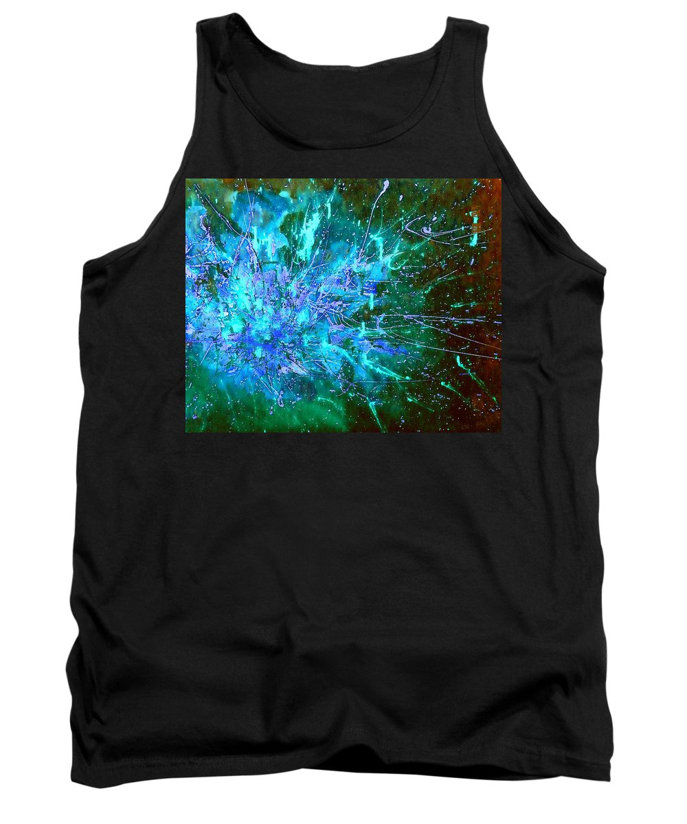 Stars Tank Top featuring the painting Star Burst In The Milky Way by Giro Tavitian