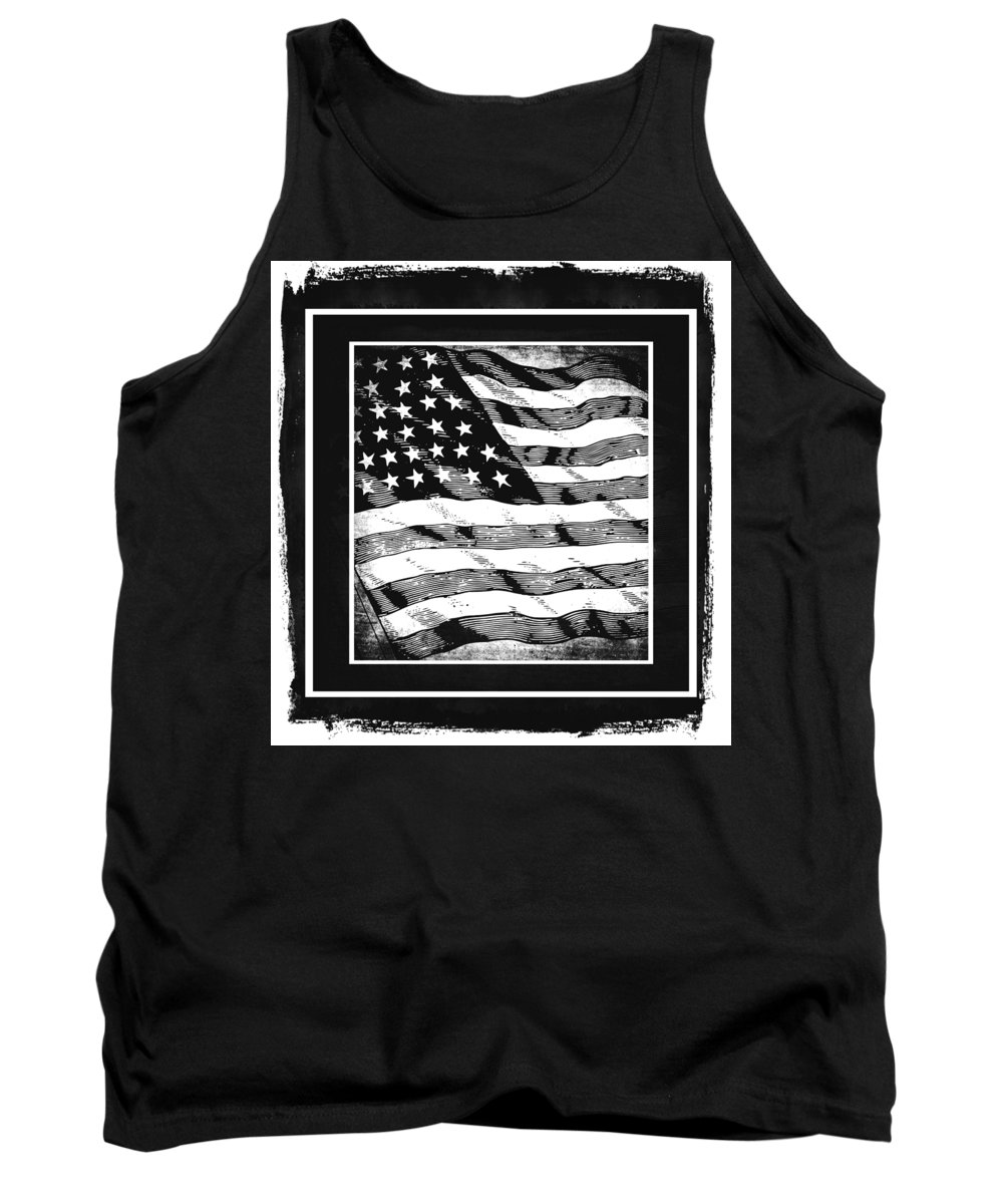 Usa Tank Top featuring the mixed media Star Spangled Banner Bw by Angelina Vick