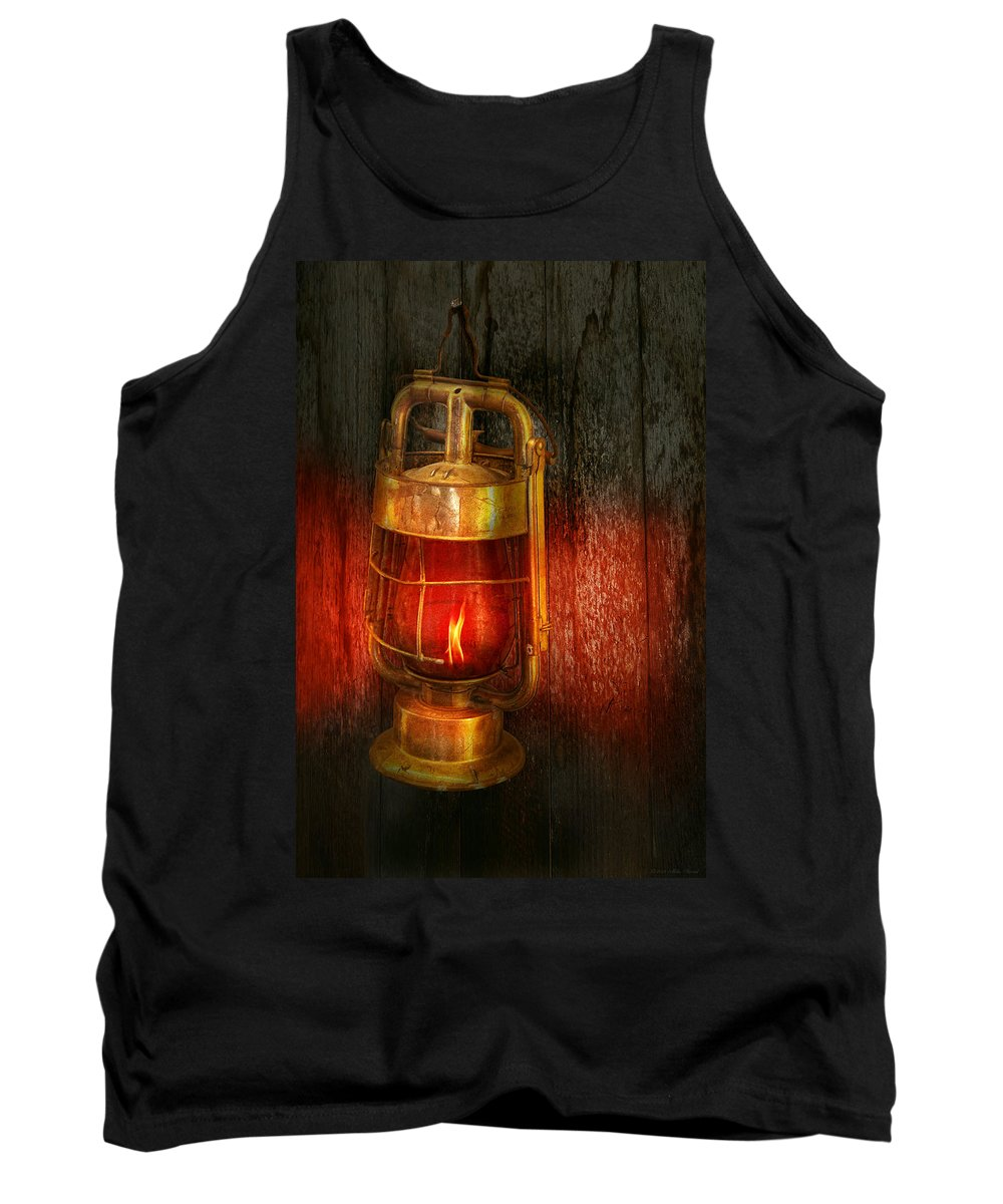 Redlight Tank Top featuring the photograph Steampunk - Red Light District by Mike Savad