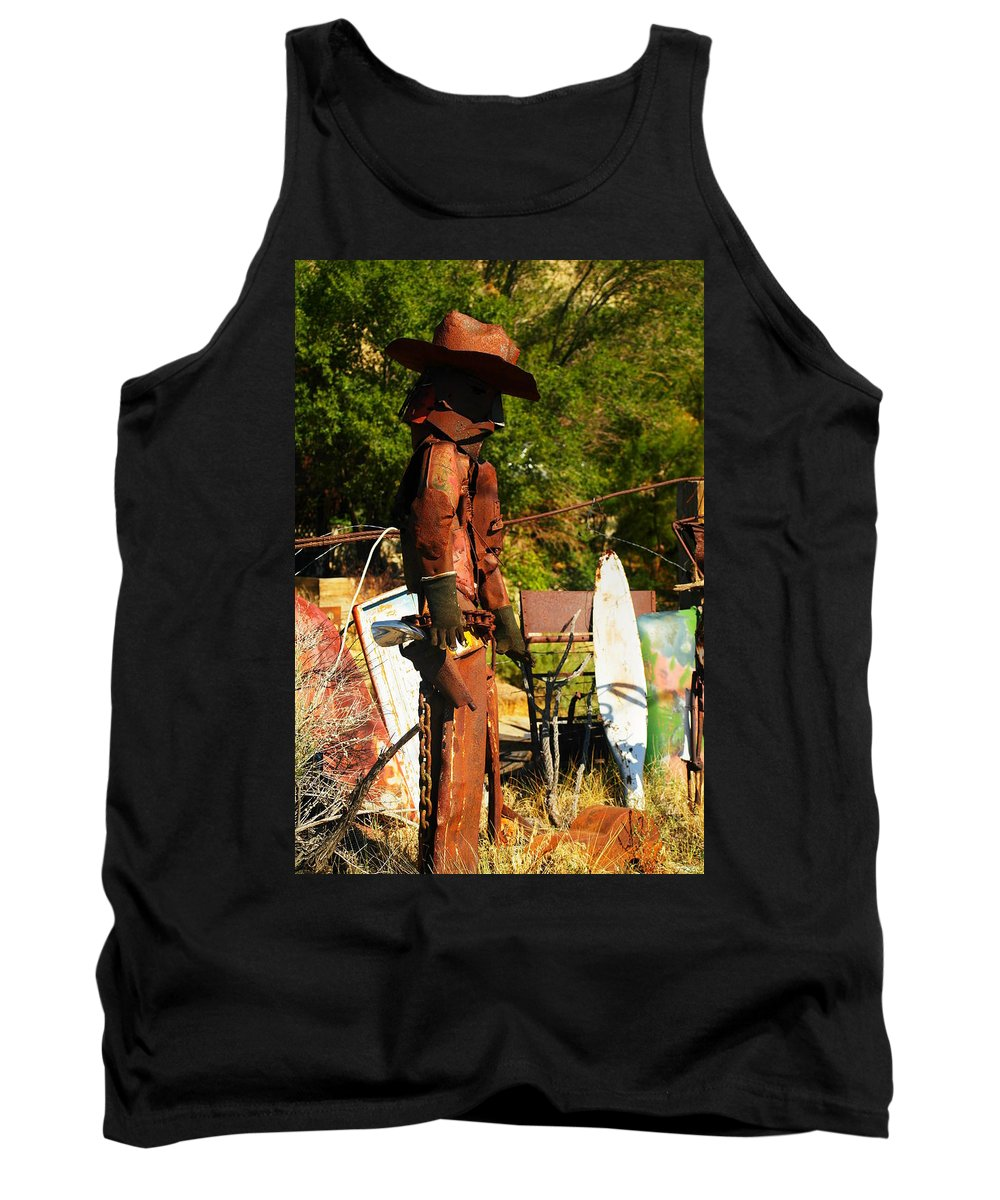 Steel Art Tank Top featuring the photograph Steel Gunfighter by Jeff Swan