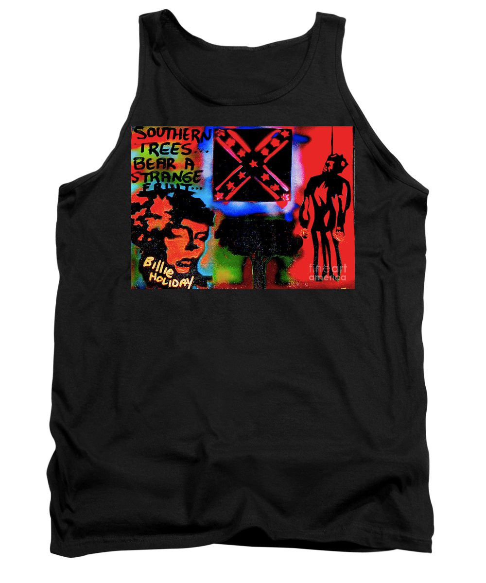 Jazz Tank Top featuring the painting Strange Fruit by Tony B Conscious