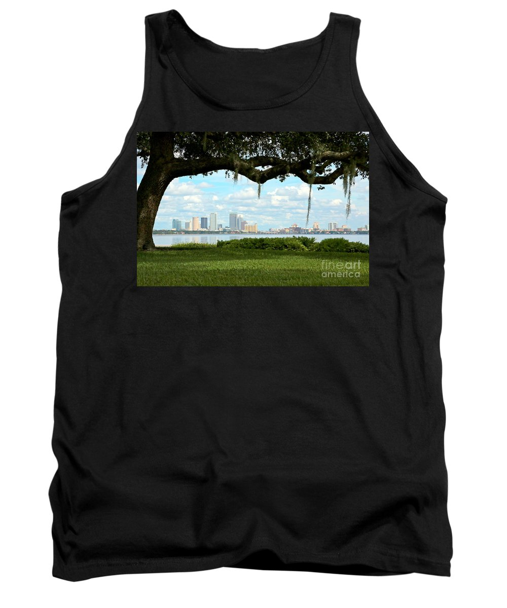 Oak Tree Tank Top featuring the photograph Tampa Skyline Through Old Oak by Carol Groenen