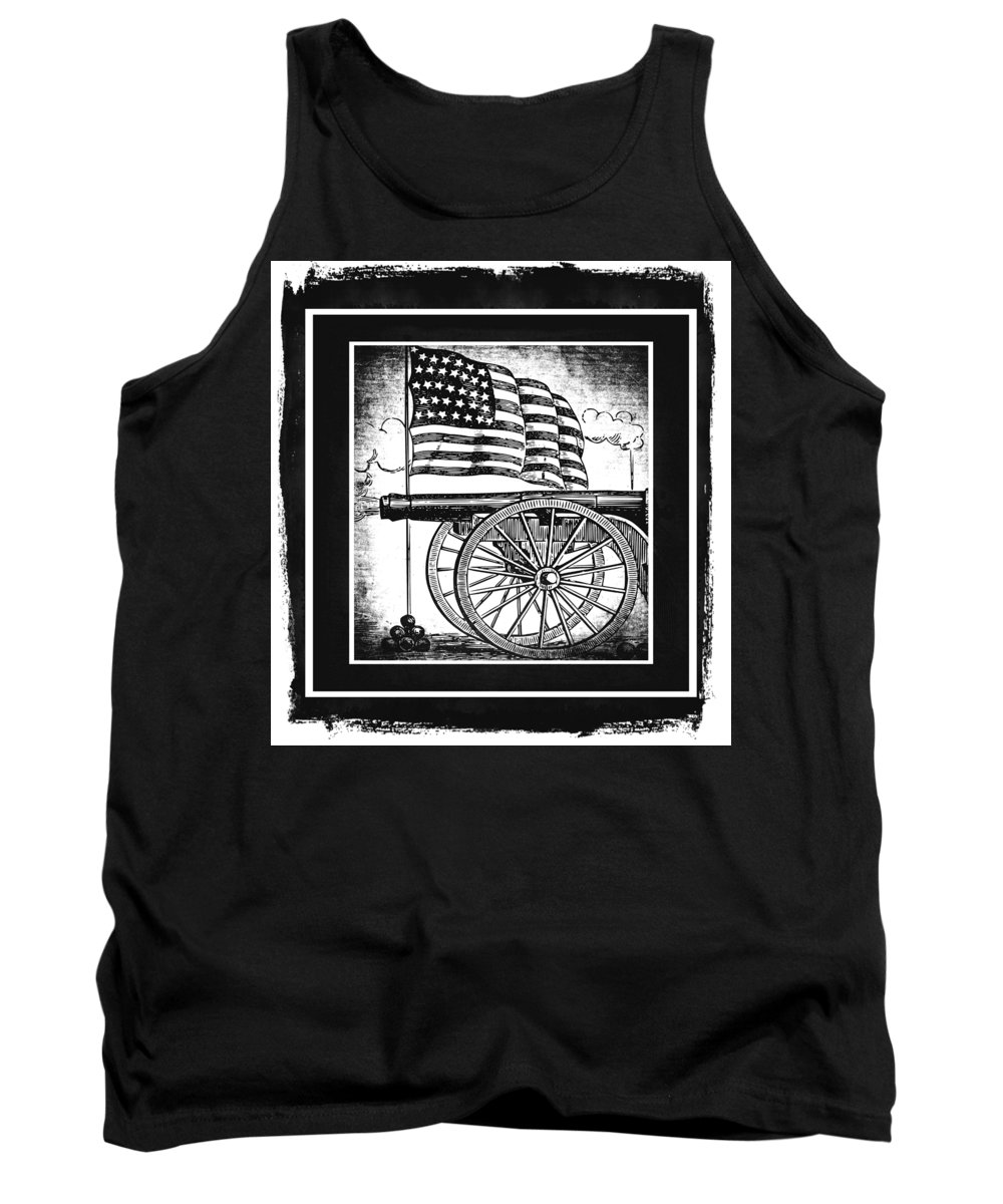 Usa Tank Top featuring the mixed media The Bombs Bursting In Air Bw by Angelina Vick
