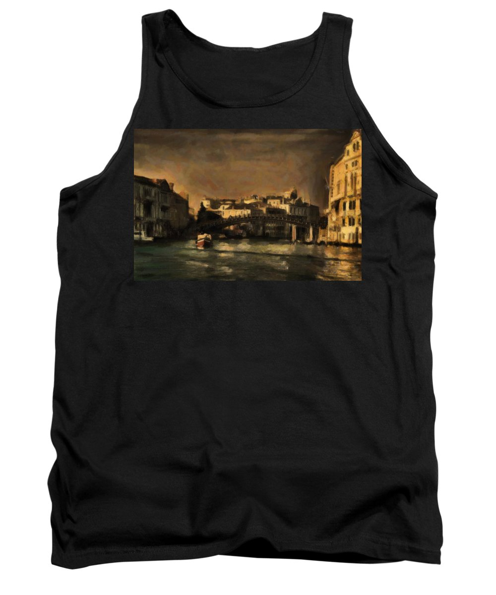 Venice Tank Top featuring the digital art The Canal Venice by Diane Dugas