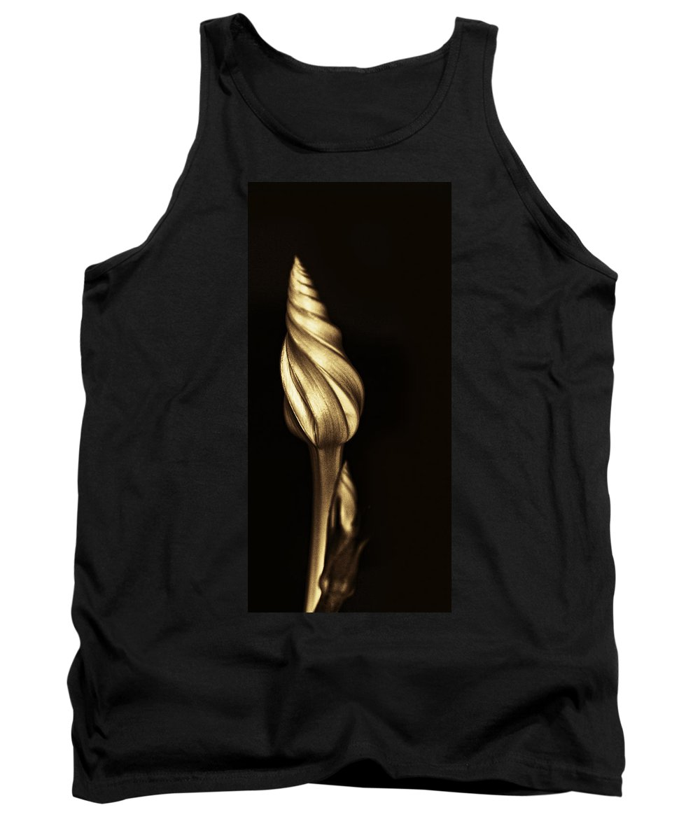 Moonflower Tank Top featuring the photograph The Dance Of The Golden Moonflower by Kathy Clark