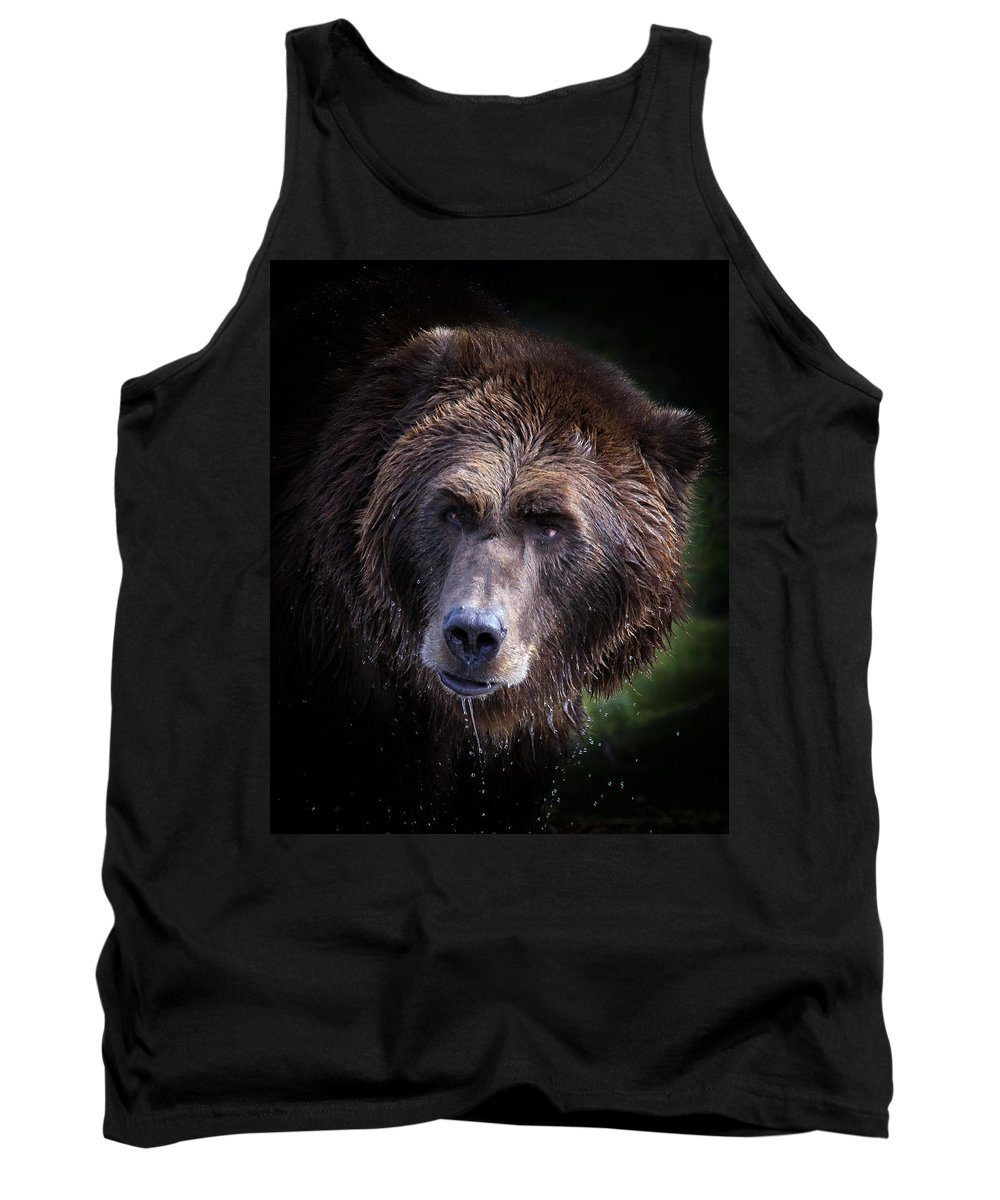 Grizzly Bear Tank Top featuring the photograph The Drink by Steve McKinzie