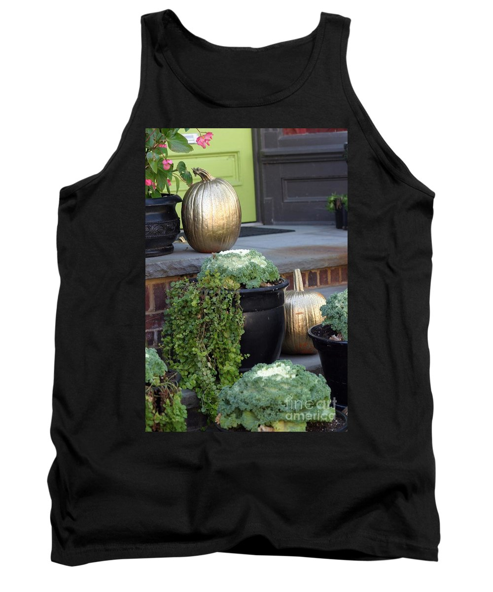 Porch Tank Top featuring the photograph The Golden Pumpkins by Living Color Photography Lorraine Lynch