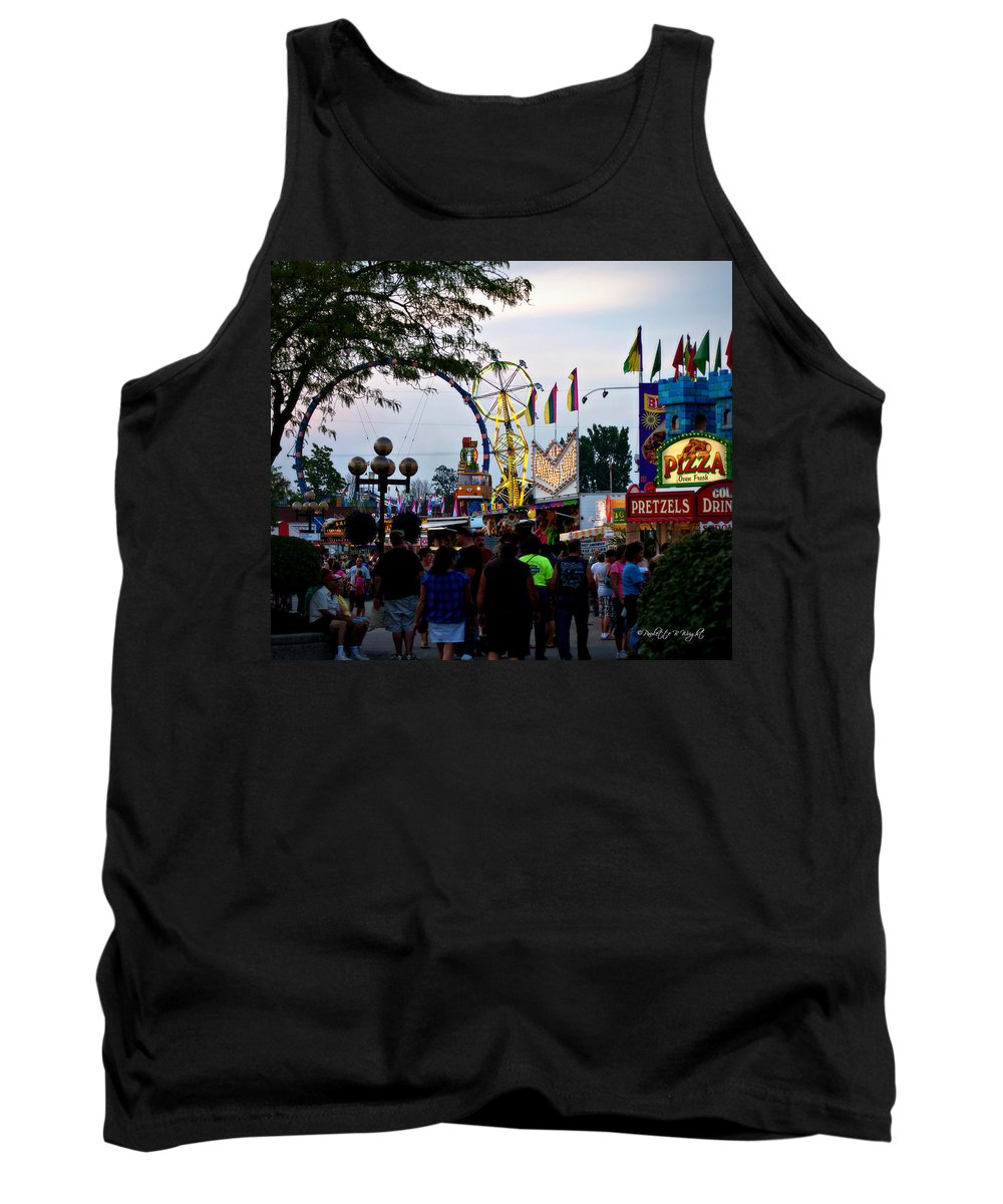 Interior Design Tank Top featuring the photograph The Midway Lights Up by Paulette B Wright