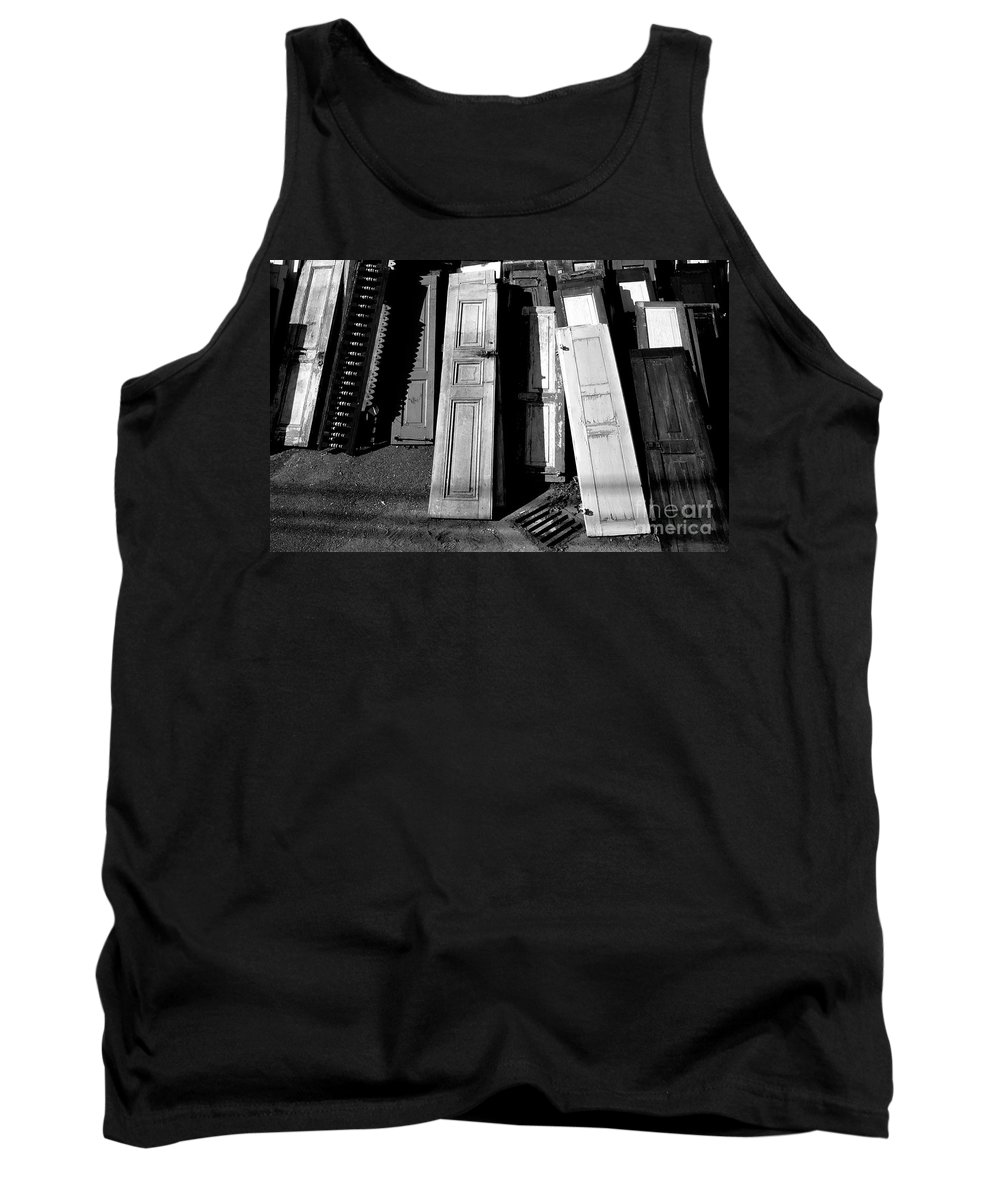 Doors Tank Top featuring the photograph The Old Doors Bw by Mike Nellums