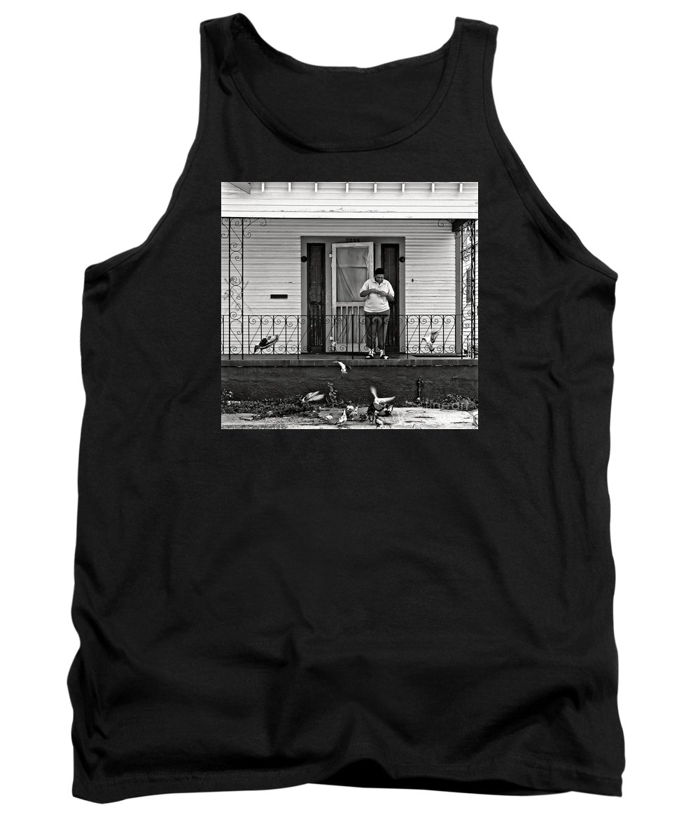 Lady Tank Top featuring the photograph The Pigeon Lady - Black And White by Kathleen K Parker