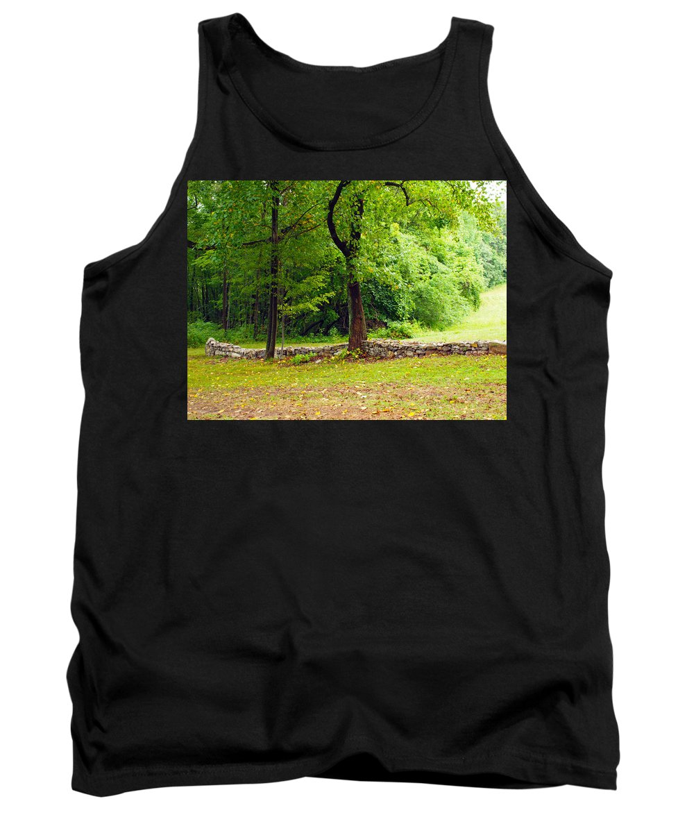 Farm Animals Tank Top featuring the photograph The Stone Wall Before The Cabin by Robert Margetts