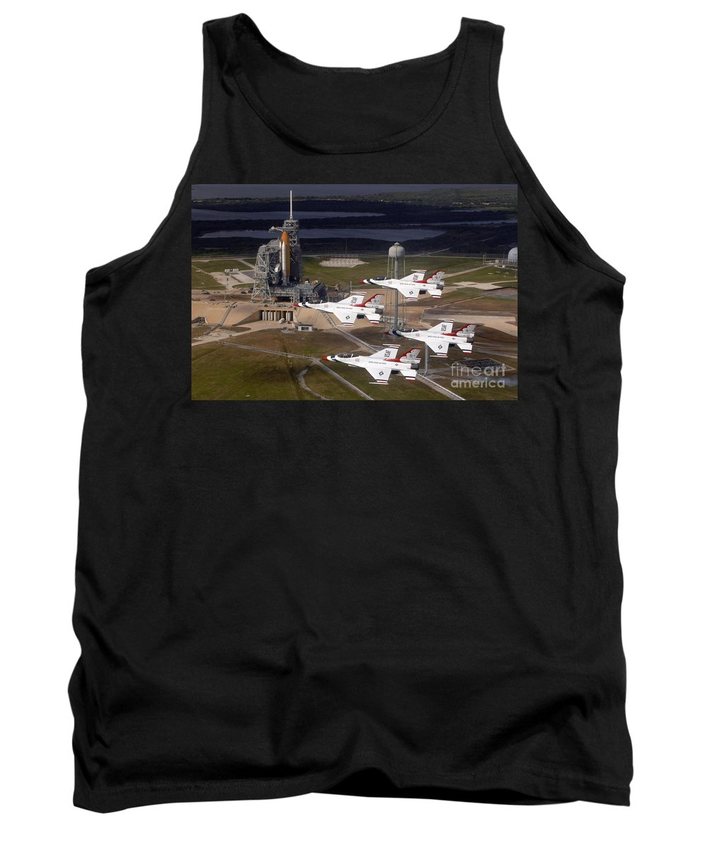 Thunderbirds Tank Top featuring the photograph Thunderbirds Fly Past Endeavour by Nasa