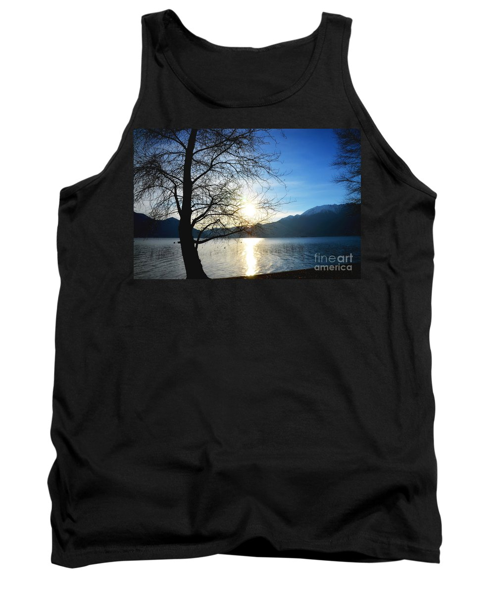 Tree Tank Top featuring the photograph Tree And Lake by Mats Silvan