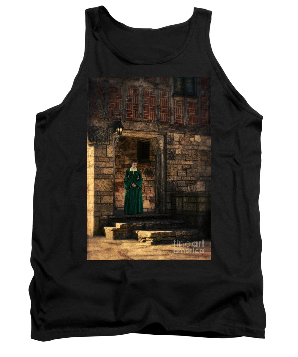 Woman Tank Top featuring the photograph Tudor Lady In Doorway by Jill Battaglia