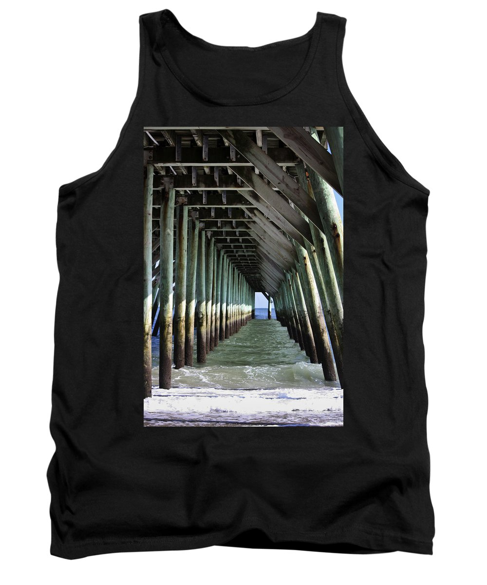 Sunlight Tank Top featuring the photograph Under The Pier by Teresa Mucha