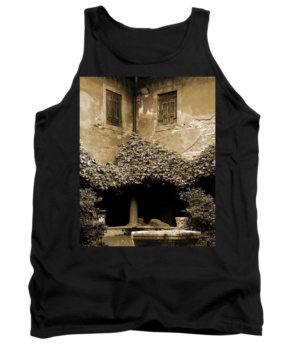 Verona Tank Top featuring the photograph Verona Courtyard II In Sepia by Greg Matchick