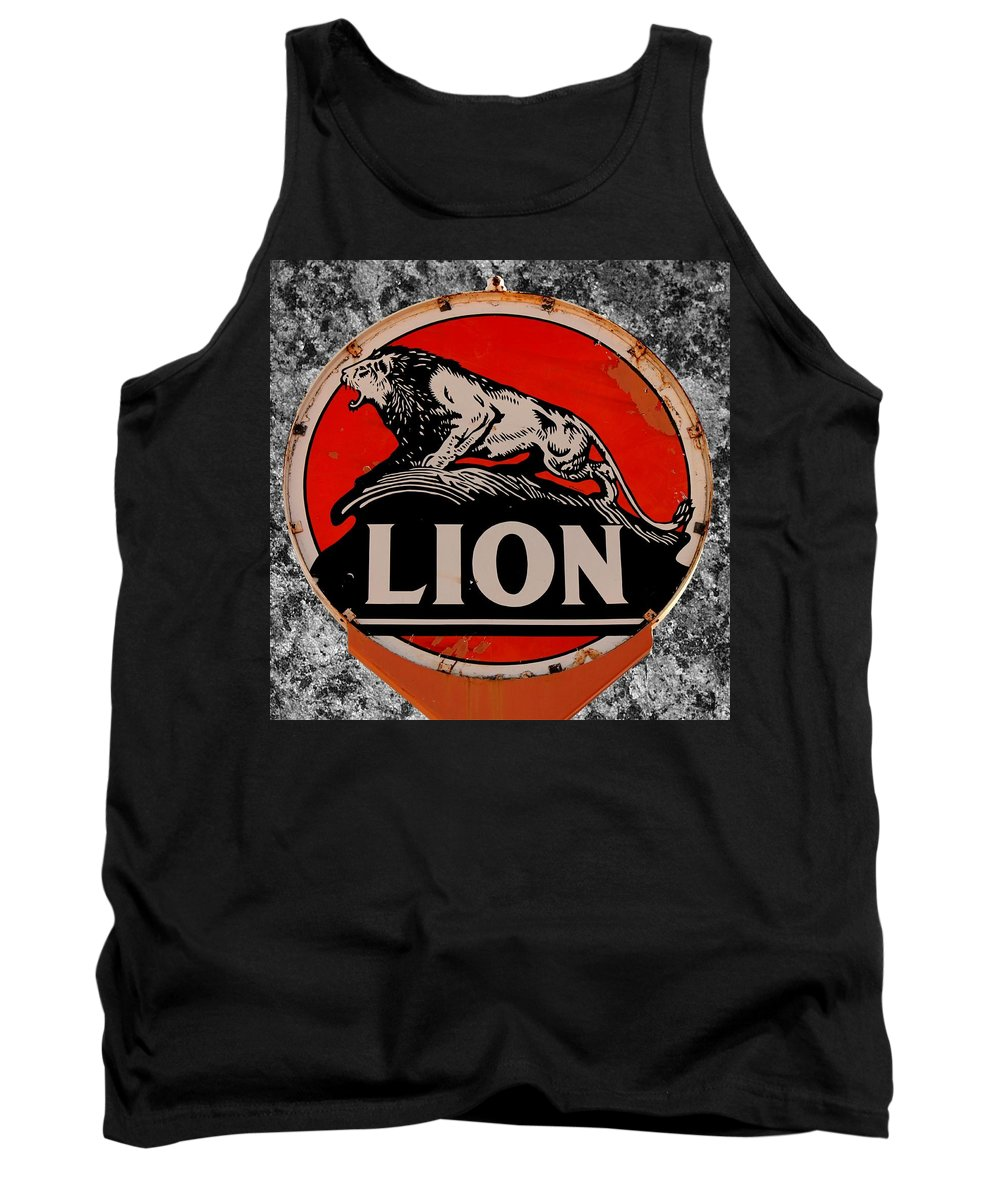 Lion Tank Top featuring the photograph Vintage Lion Oil Sign by Betty Northcutt