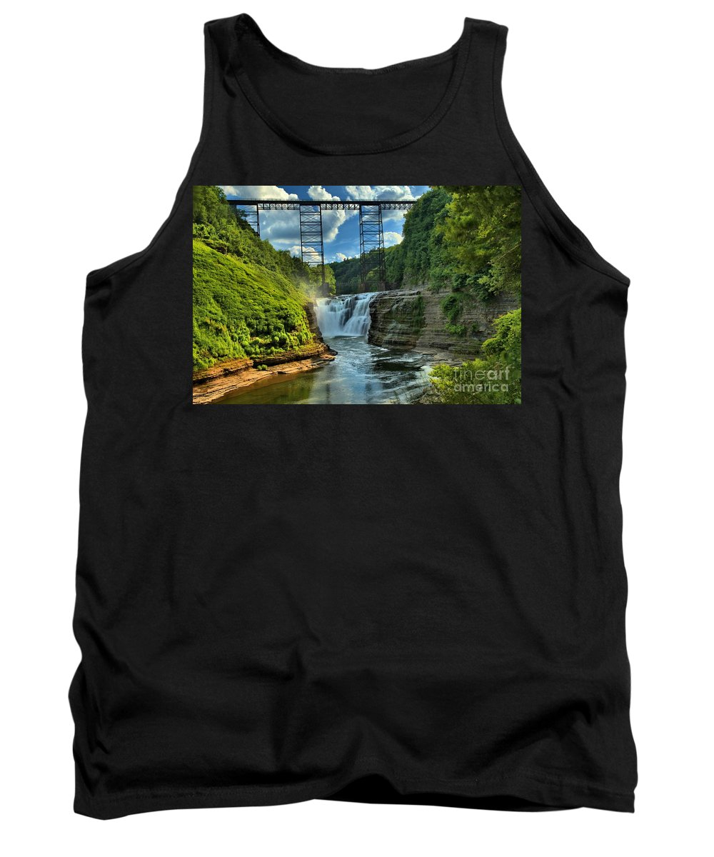 Letchworth State Park Tank Top featuring the photograph Waterfall Under The Bridge by Adam Jewell