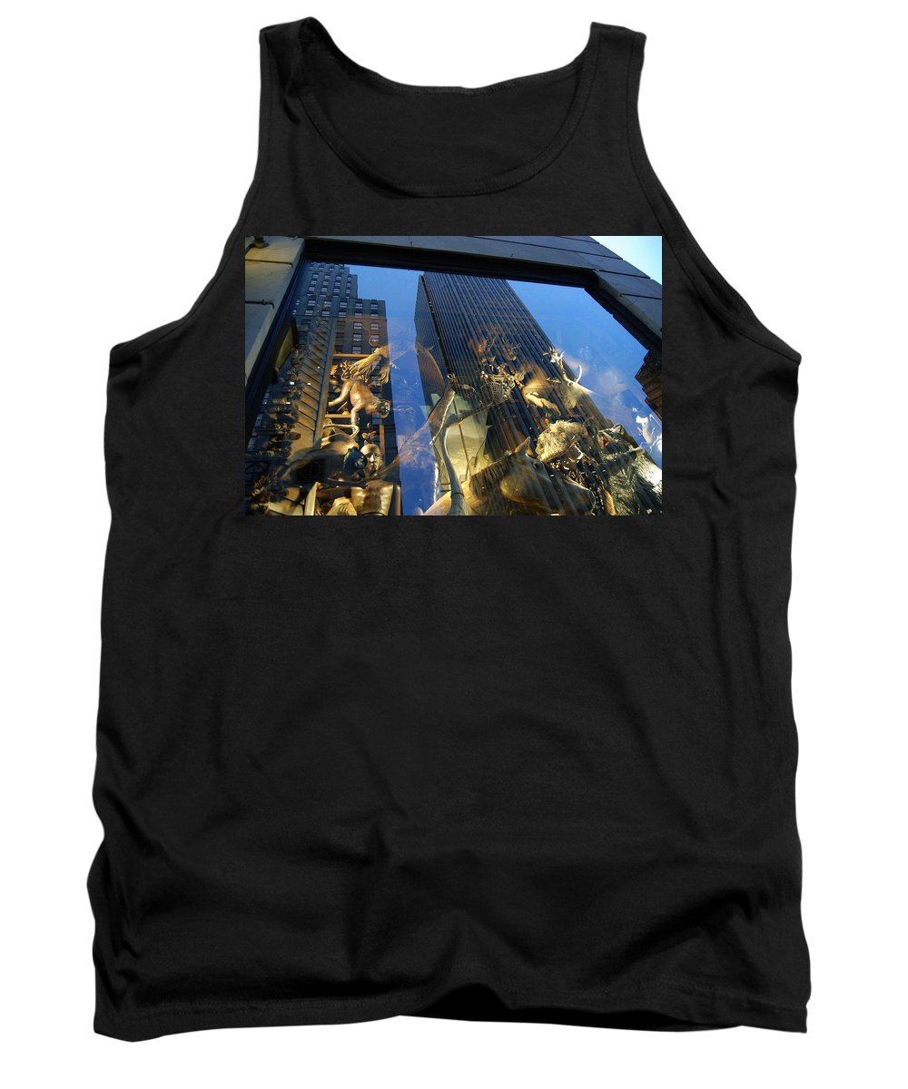 Reflections Tank Top featuring the photograph Monkeys On A Skyscraper by Stefa Charczenko