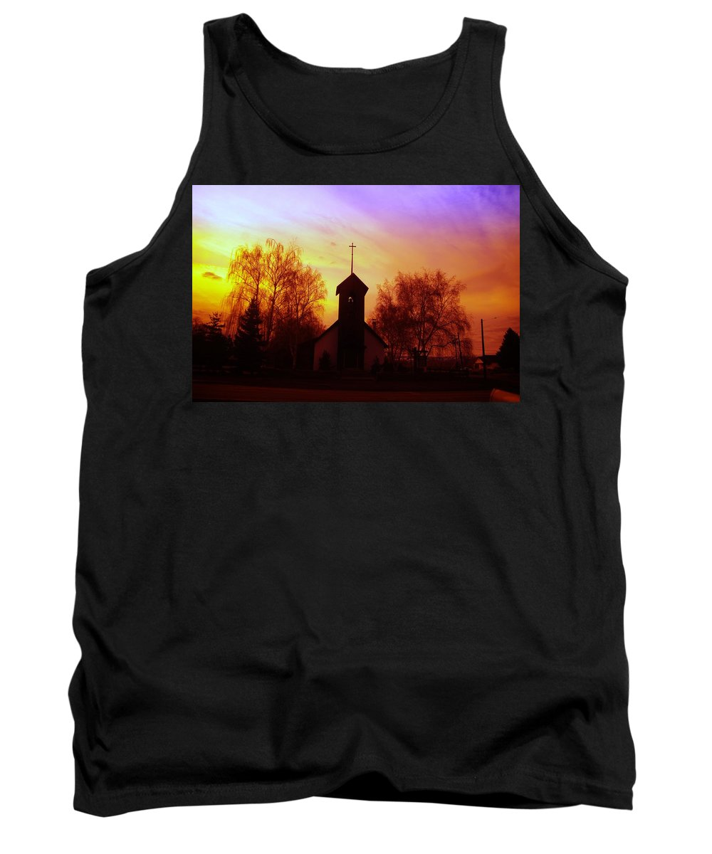Church Tank Top featuring the photograph White Swan Church In The Sunset by Jeff Swan