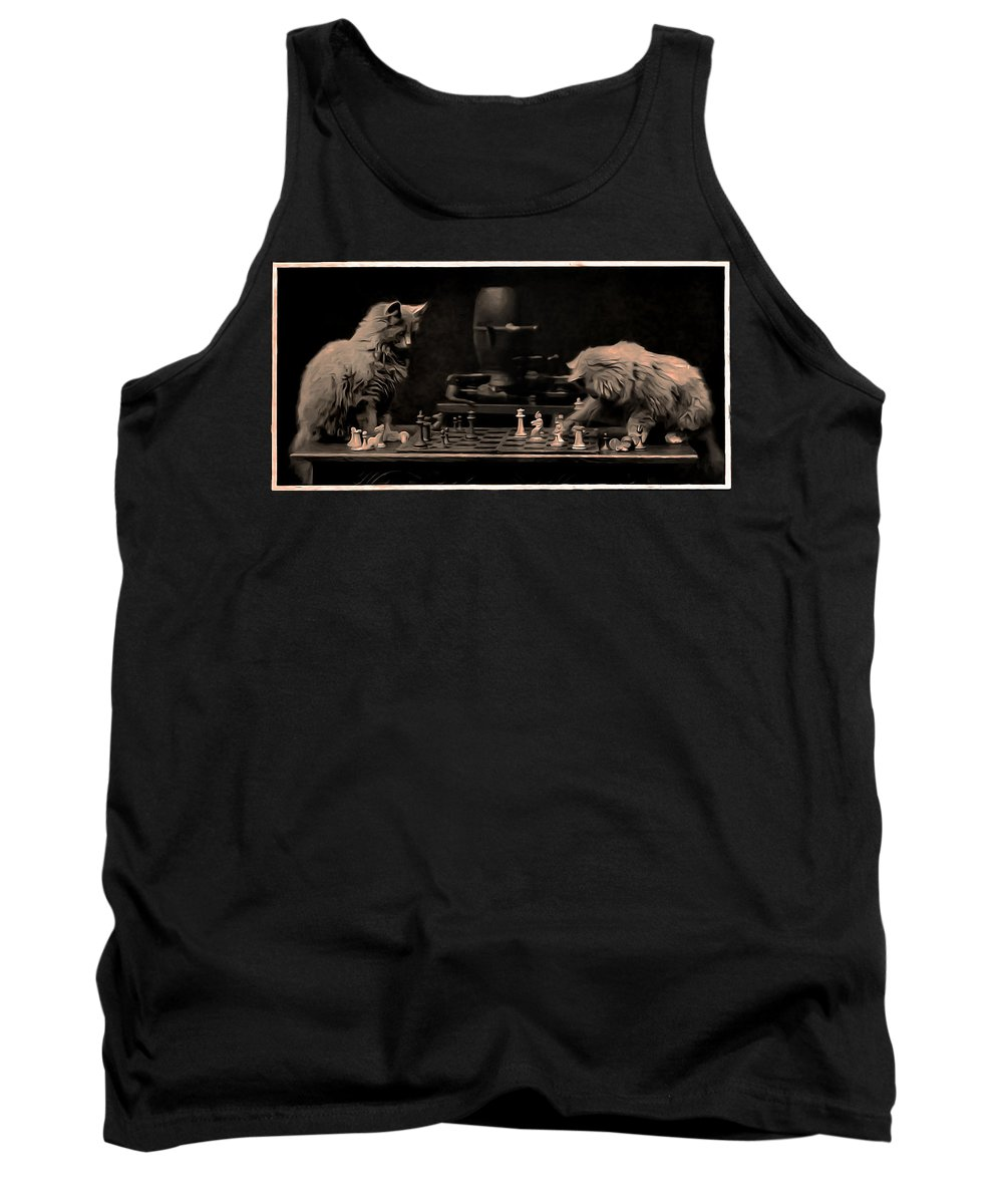 Cats Playing Chess Tank Top featuring the photograph White To Move by Bill Cannon