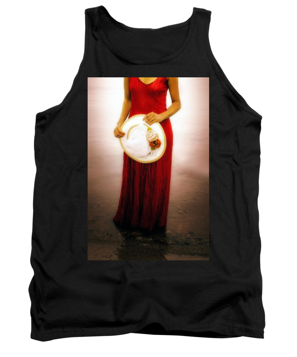 Woman Tank Top featuring the photograph Woman With Straw Hat by Joana Kruse