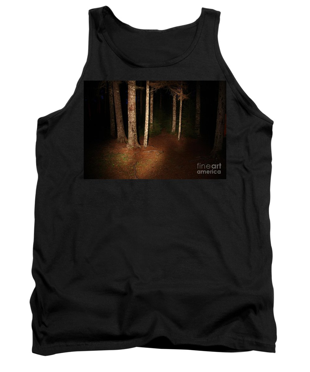 Night Tank Top featuring the photograph Woods At Night by Ted Kinsman