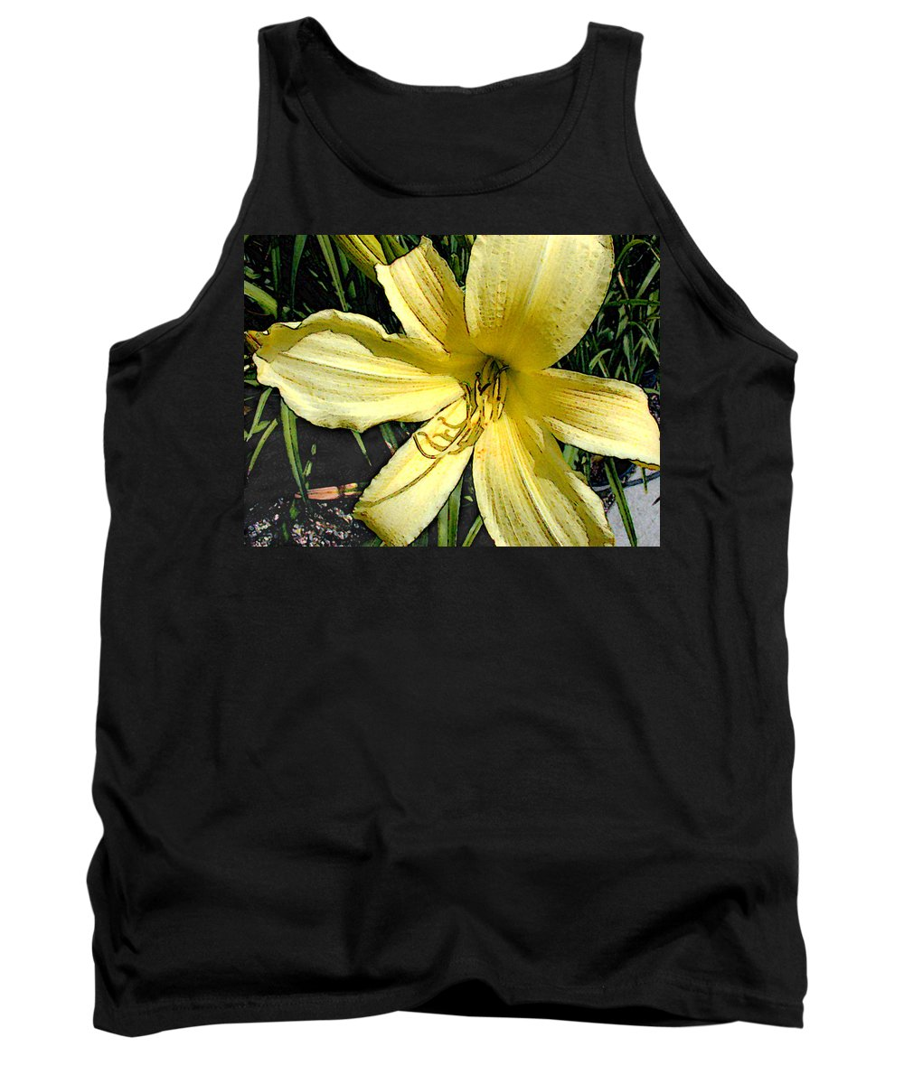 Lily Lilies Daylily Daylilies Yellow Flower Flowers Garden Flora Floral Nature Natural Bloom Blooms Blossoms Blossom Bouquet Arrangement Colorful Plant Plants Botanical Botanic Blooming Gardens Gardening Tropical Annual Annuals Perennial Perennials Bulb Bulbs Painting Paintings Illustration Illustrations Digital Computer Tank Top featuring the painting Yellow Daylily by Elaine Plesser