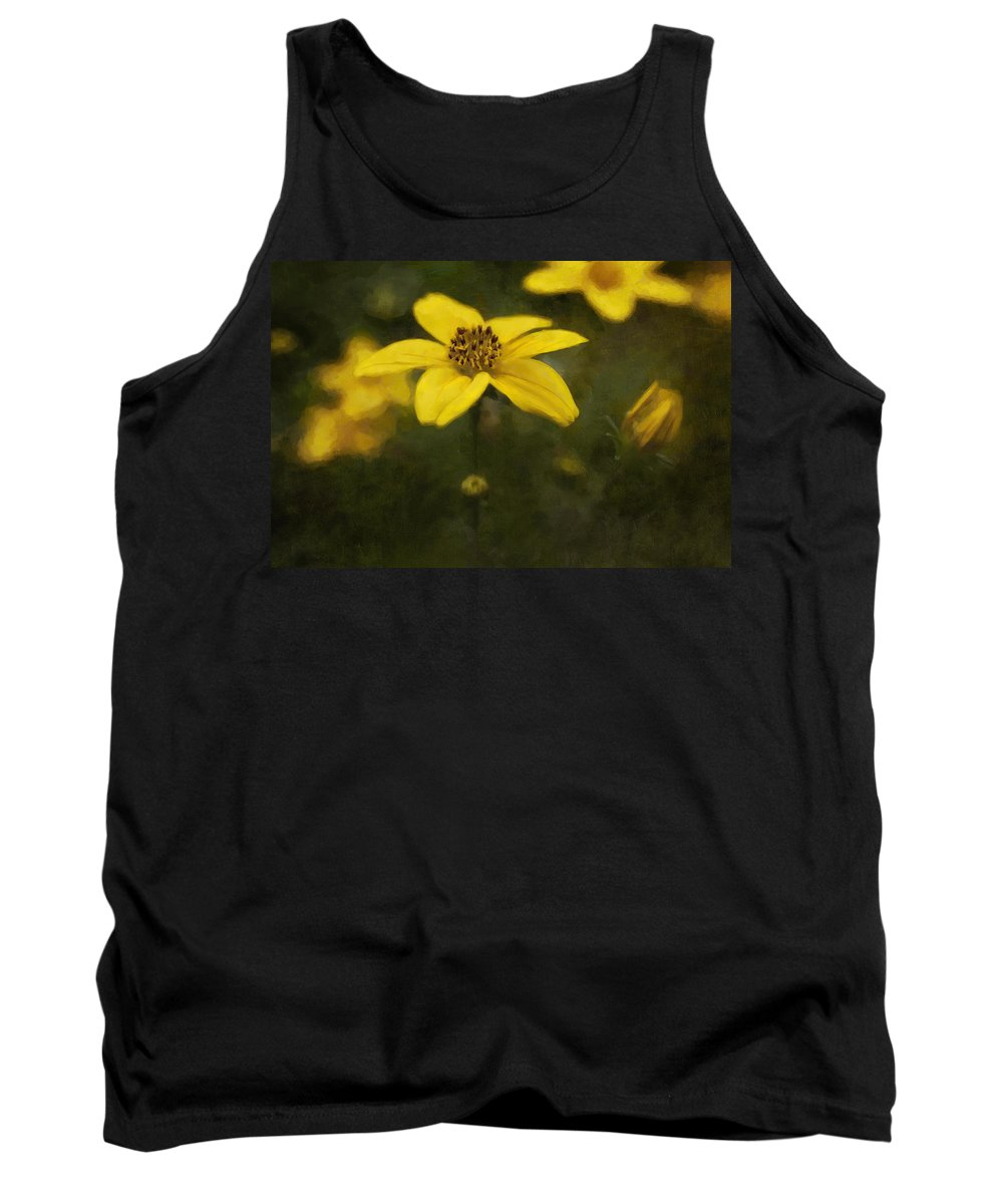 Flower Tank Top featuring the digital art Yellow by Diane Dugas
