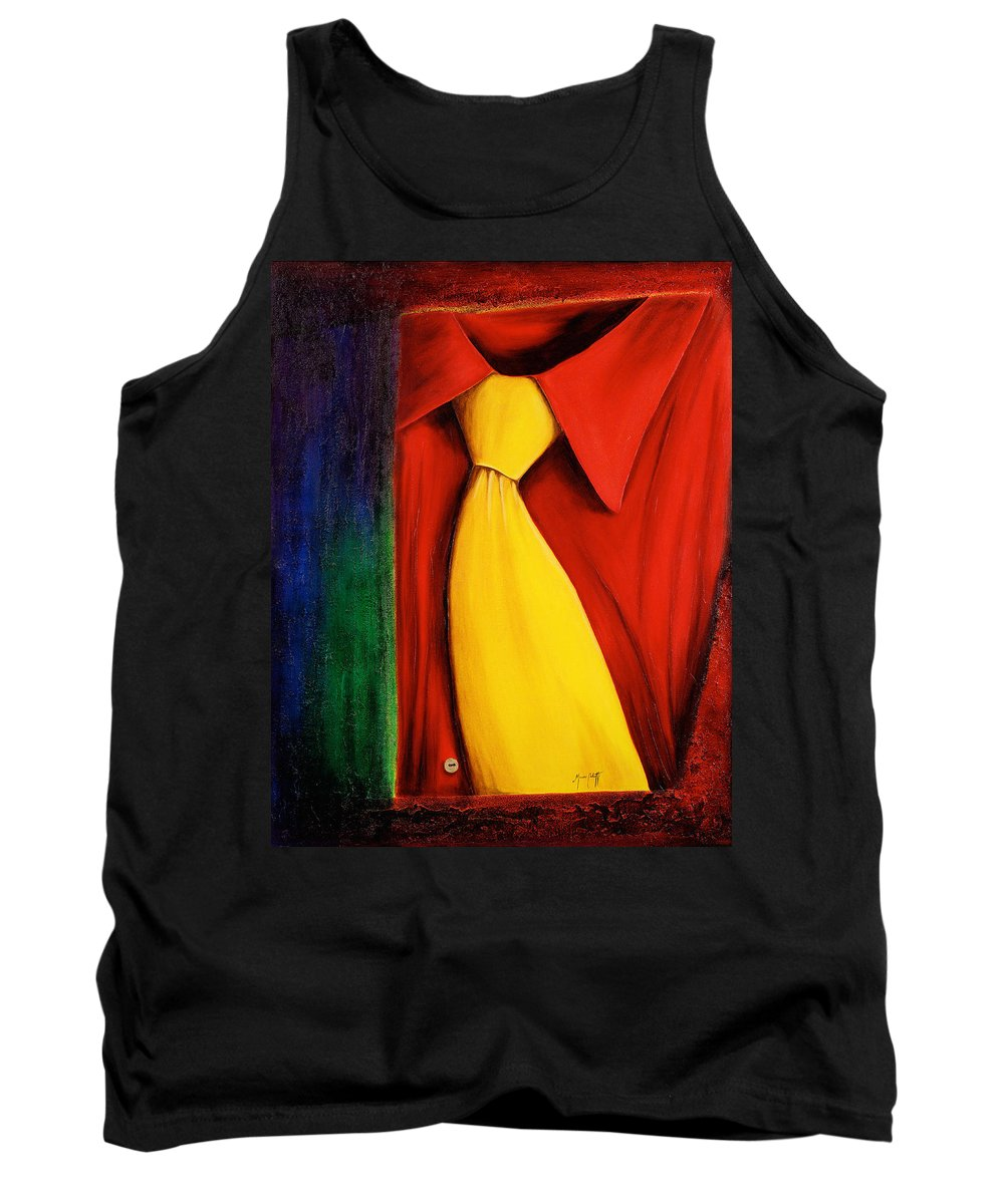 Art Tank Top featuring the painting Yellow Silk Tie by Mauro Celotti