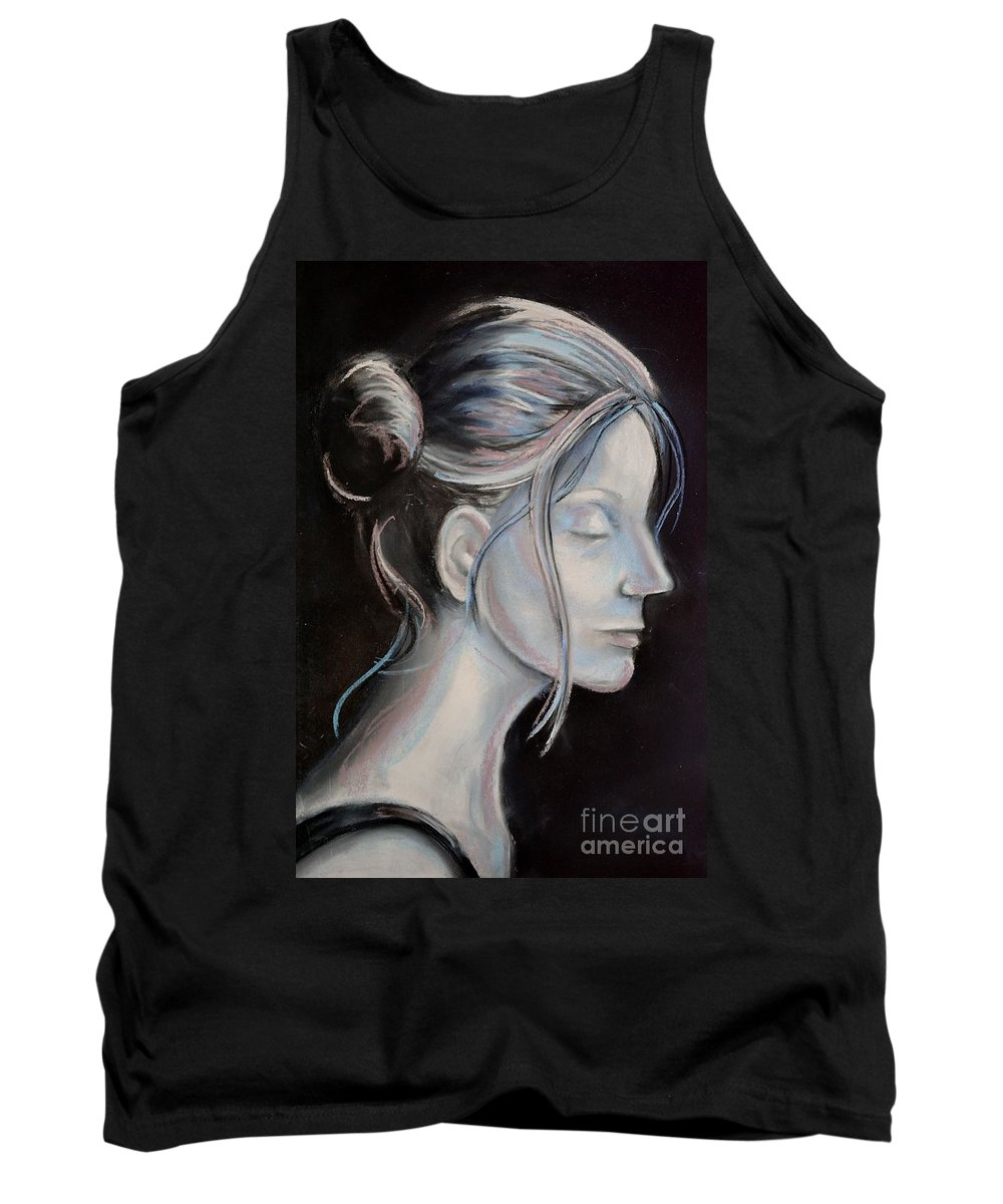 Woman Tank Top featuring the drawing Young Woman In Profile-quick Self Study by AE Hansen