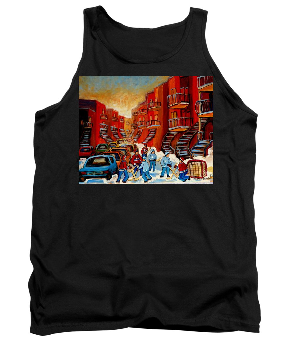 Hockey Tank Top featuring the painting A Beautiful Day For The Game by Carole Spandau