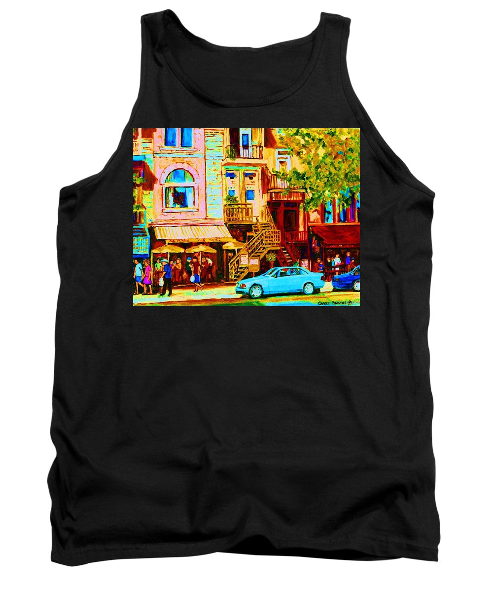 Cafe Art Tank Top featuring the painting Beautiful Cafe Soleil by Carole Spandau